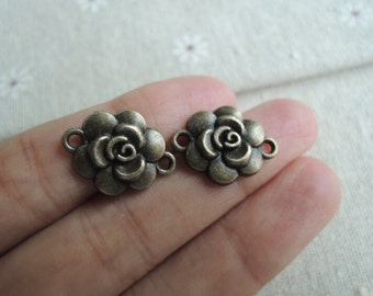 30pcs 19x14mm Antique Bronze flower  connect charm( A430)