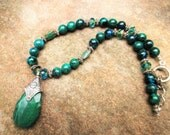 Agate necklace, Chrysocolla necklace, boho necklace, silver necklace, trending jewelry, emerald green necklace, summer trends
