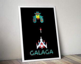 Galaga Classic Video Game Inspired - Movie Art Poster Print