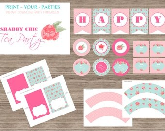 Shabby Chic Tea Party Printable Package - INSTANT DOWNLOAD