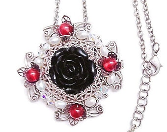 Filigree Black Rose Necklace with Garnet Gemstones, Silver Filigree Necklace, Victorian Style Jewelry, Romantic Jewelry