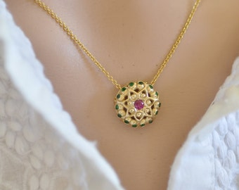 Ruby Gold Pendant , 14k Solid Gold Necklace , Solid Gold Necklace , Ruby Necklace , Unique Gold Necklace , Unique Gold Pendant, Ruby Pendant
