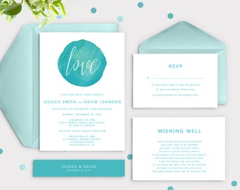 turquoise wedding invitations | etsy, Wedding invitations