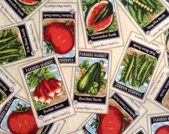 1/2 Yard of Fabric - Vegetable Seed Packets