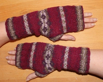 Fair isle fingerless mitts in pure shetland wool, hand knitted to a unique pattern