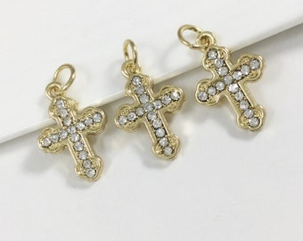 10 pcs Wholesale  Rhinestone  Cross  Charms ,Cross Pendants , Cross Necklace , Cross Jewelry.