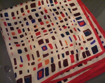 Vintage Soft Silky Multi-Colored Cubes Scarf - Great Vintage Condition!!