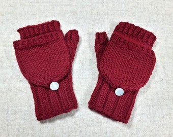 Convertible Fingerless Gloves for Toddlers, organic merino wool, arm warmers with flap, gift for kids