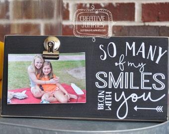 "So Many Smiles Photoboard Frame with Bulldog Clip, Picture Frame, 4""x6"" Photo Frame, Memo Board"