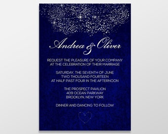 Custom Personalized Digital Wedding Invitation - Formal, Royal Blue Wedding Invitations, 5x7 PRINTABLE or PRINTED - Starry Starry Night