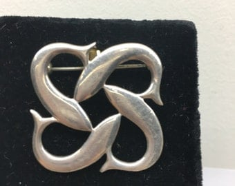 Vintage Sterling Silver  Dolphins Celtic Design Pin by Keith Jack