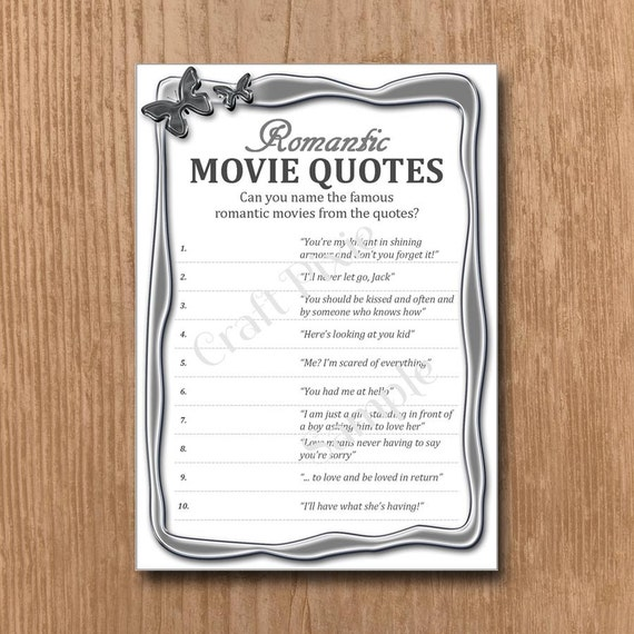 Quotes Quiz Custom Romantic Movie Quotes Quiz Metallic Butterfly Instant Pdf