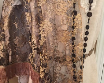 RESERVED For Lovely Patricia// Antique// French SILK Golden Lame Shawl// Brocaded Silk Trim & Fringed// Absolutely STUNNING!