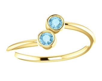 25% OFF Aquamarine 14k White, Yellow, or Rose Gold, Stacking Ring, Made to Order, Two Stone, March Birthstone