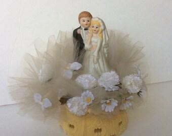 Vintage 1970s Wedding Cake Topper Bride Groom Flowers