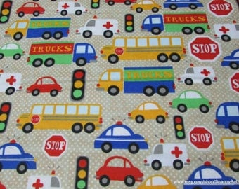 Flannel Fabric - Stop Light Beige with Cars, Trucks, Bus- 1 yard - 100% Cotton Flannel