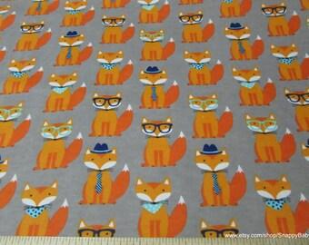 Flannel Fabric -Dapper Fox - 1 yard - 100% Cotton Flannel