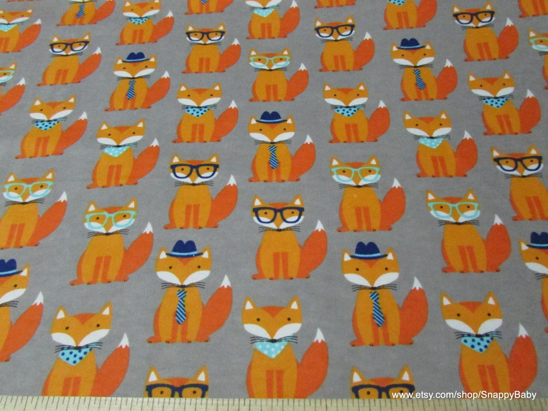 Flannel Fabric Dapper Fox 1 yard 100% Cotton Flannel