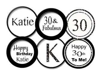 30th birthday toppers 30th cupcake toppers   Black Glitter 30th cupcake topper 30th favor tag / 30th party 30  printable digital