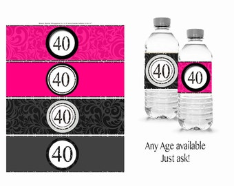 40th water bottle wrapper 40th birthday party 21st 15th 16th 30th 40th 50th 60th 80th printable digital