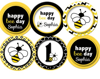 Bumble Bee Cupcake Toppers Party Birthday Personalized
