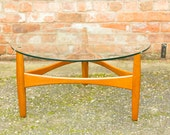 Vintage round glass top coffee table g plan style danish retro stunning 70s 60s