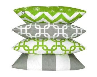1 turn pillowcase DANDELION CHEVRON green white 50 x 50 cm