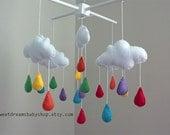 Baby Crib Mobile - Rainbow Cloud Baby Mobile - Crib Mobile - Rain Drop Baby Mobile