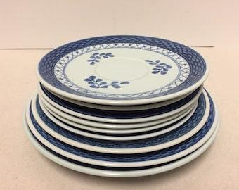 Lot of 9 ROYAL COPENHAGEN TRANQUEBAR Blue Saucers Underplates 4 Diff Sizes