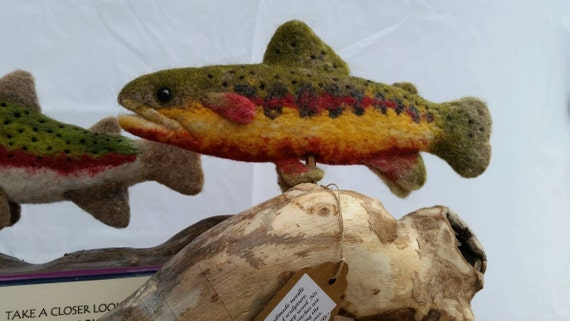 California Golden Trout. Needle felted wool sculpture trout fish.
