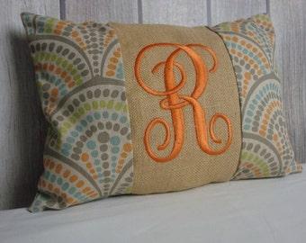 Monogram Pillow. Orange Pillow. Blue Pillow. Beige Pillow. Geometric Pillow.