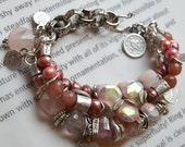 ON SALE opal bracelet, tourmaline bracelet, pink gemstone, pink opal bracelet, rose pink bracelet, boho chic bracelet, gift for her