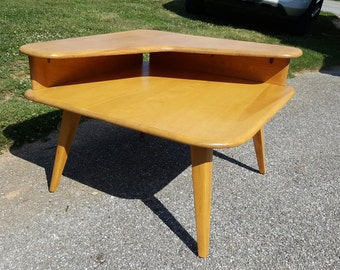 Mid century modern corner side table Heywood Wakefield