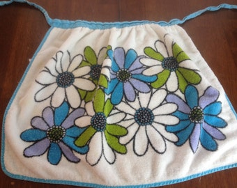 Terry Cloth Apron Blue Green Purple Daisy Flower Floral VTG Groovy Retro Kitsch