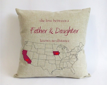 long distance father daughter pillow case-fathers day gift from daughter-dad Xmas gift-stepdad gift-father daughter love knows no distance