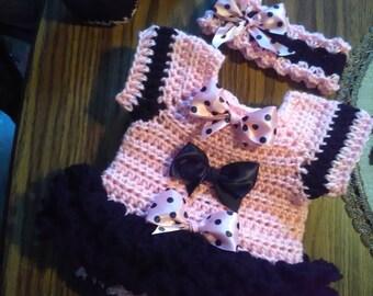 Black and pink crochet onsie baby dress set