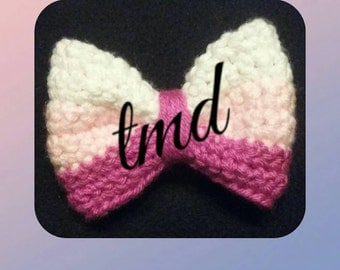 Pink Ombre Crochet Bow
