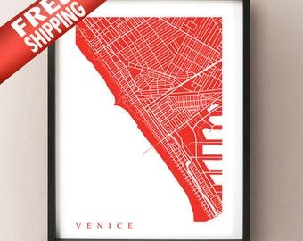 Venice, CA Map Print - California Poster