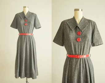 vintage 1950s dress / linen day dress / small / Speckled Egg Dress