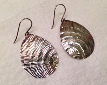 Designer Diamond Cut Sterling Silver Butterfly Wing Dangle Earrings- Signed