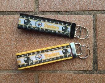 Pittsburgh Steelers Ribbon Key Fob - Steelers Keychain - Ribbon Wristlet - Ribbon Keychain - Steelers Key Fob - Pittsburgh Steelers Keychain