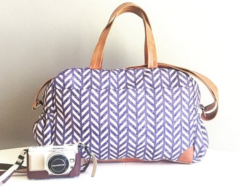 DIAPER BAG, Nappy bag / Weekender/ overnight bag, Herringbone indigo nappy bag with faux  tan leather details