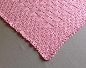 Pink hand knitted baby blanket - newborn blanket - baby girl blanket