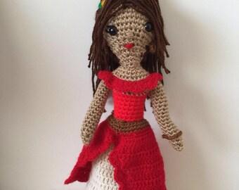 Crochet Elena of Avalor Doll - Disney princess Elena -Girls Kids Toy Dolls - Amigurumi Dolls - Baby Gift - Kids Gift- Girls Gift