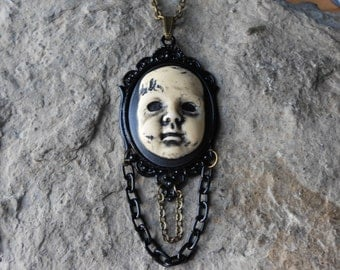 "Creepy Baby Doll, Zombie Baby, Zombie, Scary Doll, (Hand Painted) Cameo Pendant Necklace with Chains - Goth, Punk Great Quality!! 2"" Long"