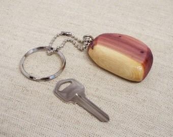 Keychain, key chain, key fob, wood key fob, key ring, cedar key ring, ball chain