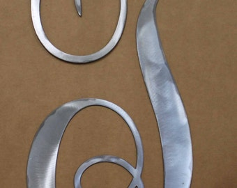 """Polished Metal Letter """"T"""" In Script Door or Wall Hanging"""