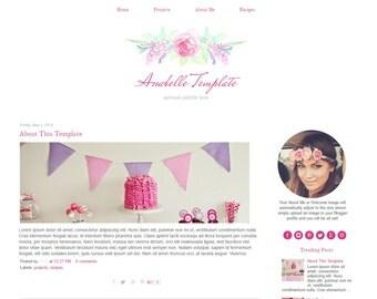Pink Blogger Template - Vintage Flower Blog Template - Watercolor - Responsive - Instant Download