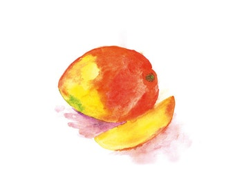 Watercolor Mango Painting, Home Decor, Botanical Watercolor, Kitchen Wall Art, Fruit Art Print, Kitchen Wall Decor