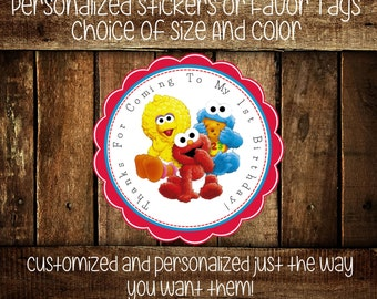 Sesame Street Babies Personalized Stickers - Party Favors - Sesame Street Party-Birthday Stickers - Gift Tag - Choice Of Size And Color(228)